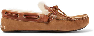 e6c8c595a78 Quoddy Fireside Leather-Trimmed Shearling-Lined Suede Slippers