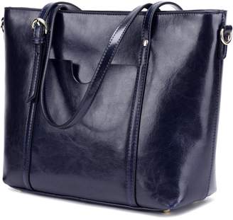 CLELO Women's Tote Bag, Genuine Leather Purse Handbag Shoulder Bag