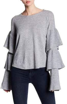 Cullen Cashmere Triple Ruffle Sleeve Sweater