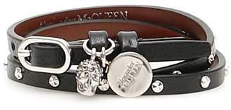 Alexander McQueen Multi Wrap Skull Bracelet With Studs