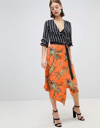 Warehouse Barbican Collection Songbird Print Wrap Skirt