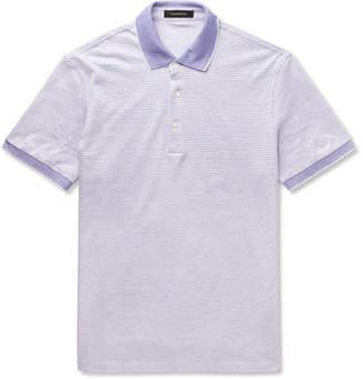 Ermenegildo Zegna Slim-Fit Striped Cotton And Linen-Blend Polo Shirt