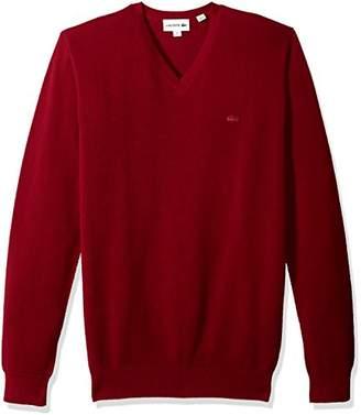 Lacoste Men's Long Sleeve Pique Mesh Effect V-Neck Sweater