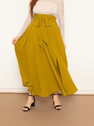 7a2bc4a28 Shein Plus Tie Waist Split Flared Skirt