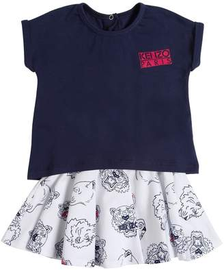 Kenzo Logo Print Cotton Jersey T-Shirt & Skirt