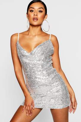 boohoo Sequin Cowl Neck Bodycon Dress