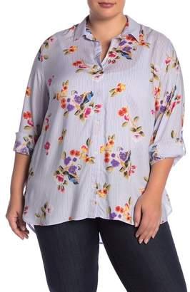 Como Vintage Striped Floral Print Button Up Shirt (Plus Size)