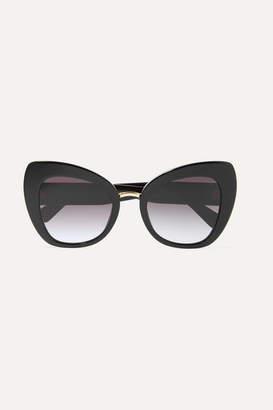 Dolce & Gabbana Oversized Cat-eye Acetate And Gold-tone Sunglasses - Black
