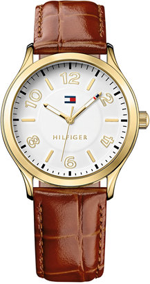 Tommy Hilfiger Women's Brown Croc-Embossed Leather Strap Watch 38mm 1781602 $65 thestylecure.com