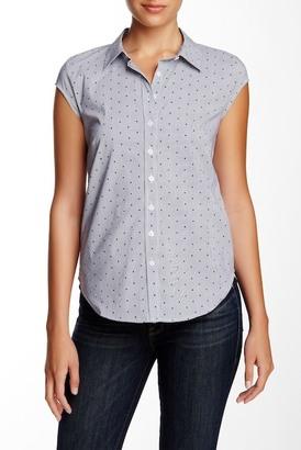 SUSINA Cap Sleeve Novelty Button Down Blouse (Petite) $29.97 thestylecure.com