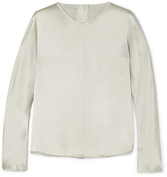 Vince Silk-satin Blouse - Silver