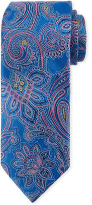Canali Woven Paisley Silk Tie, Blue