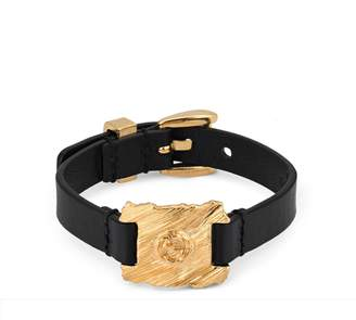 Gucci Textured metal and leather bracelet