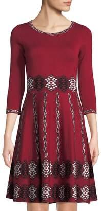 Neiman Marcus Geometric-Jacquard Fit & Flare Sweater Dress