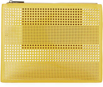 Neiman Marcus Perforated Zip Pouch Bag
