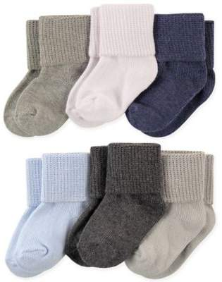Size 12-24M 6-Pack Basic Cuff Socks in Blue/Grey