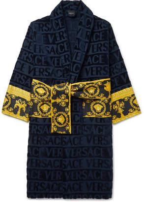 Versace (ヴェルサーチ) - Versace - Logo-Jacquard Panelled Cotton-Terry Robe