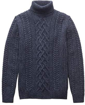 Banana Republic BR x Kevin Love | Merino Wool Blend Cable-Knit Turtleneck Sweater