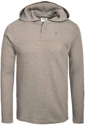 Hurley Men Astoria Thermal-Knit Logo Graphic Hooded Henley