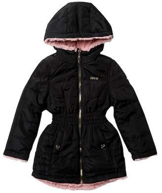 DKNY Reversible Solid/Faux Fur Anorak Jacket (Little Girls)