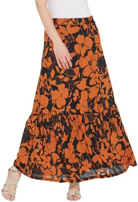 Susan Graver Regular Printed Novelty Knit Tiered Skirt