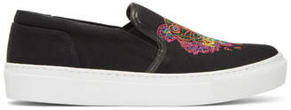 Kenzo Black Limited Edition Holiday Tiger K-Skate Slip-On Sneakers