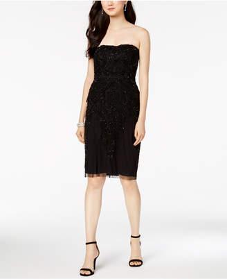 Adrianna Papell Beaded Strapless Sheath Dress