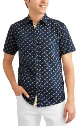 Generic Big Men's Conversational Printed Brushed Soft Short Sleeve Button-down Shirt