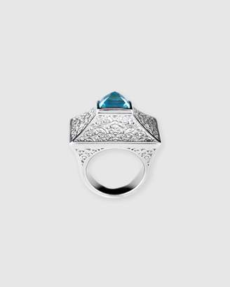 Chunky Natural 3ct Blue Topaz Square Gypsy Ring