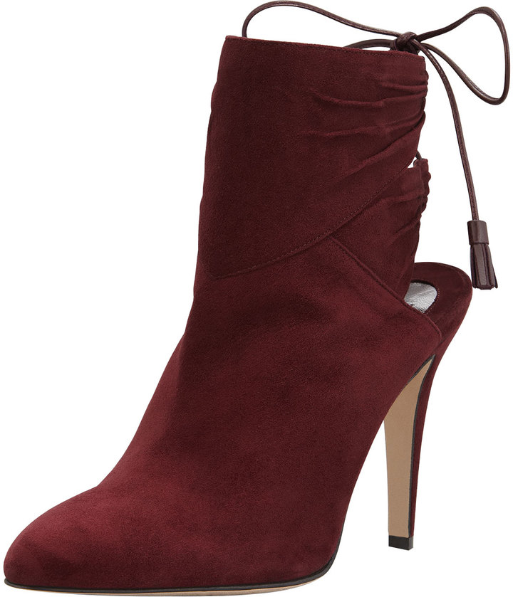Brian Atwood Arron Suede Tie-Back Ankle Boot