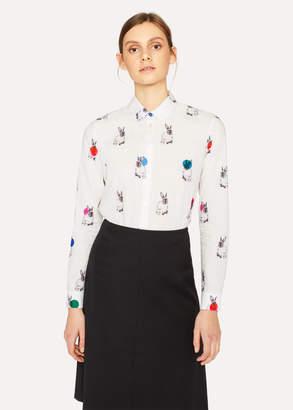 Paul Smith Women's White 'Rabbit' Print Shirt With Polka Dots