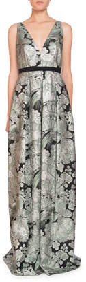 Erdem Ceren V-Neck Sleeveless Blossom Bird Jacquard Evening Gown