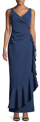 Vince Camuto Draped Ruffle Gown