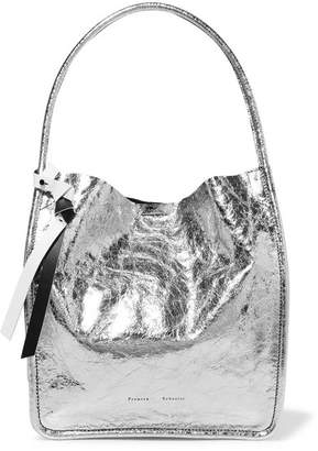 Proenza Schouler Metallic Crinkled-leather Tote - Silver