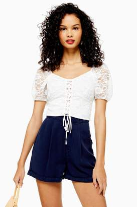 Topshop Womens Tie Up Lace Crop Top - Cream