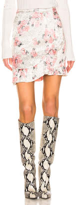 ALEXACHUNG Ruffle Mini Skirt in Pink Silver | FWRD