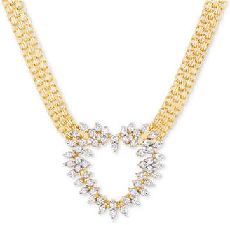Macy's Diamond Heart Bismark Link Pendant Necklace (1/2 ct. t.w.) in 14k Gold-Plated Sterling Silver or Sterling Silver