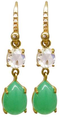 Irene Neuwirth Diamond and Chrysoprase Teardrop Earrings