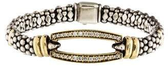 Lagos Two Tone Diamond Oval Station Bracelet