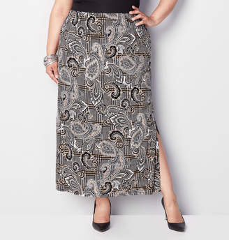 Avenue Paisley Plaid Maxi Skirt