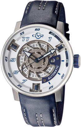 Gv2 Men's Automatic-Self-Wind Motorcycle Sport Blue Leather Strap Watch