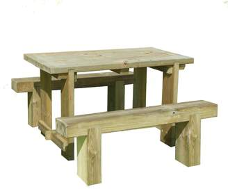 Forest Garden Sleeper Benches and Table Set 1.2m