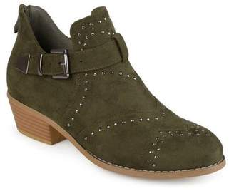 Brinley Co. Women's Faux Suede Decorative Ankle Strap Studded Booties