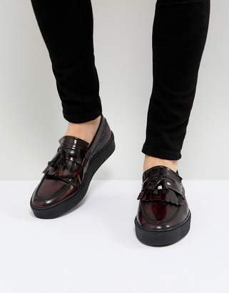 Asos Loafers In Burgundy Leather With Creeper Sole