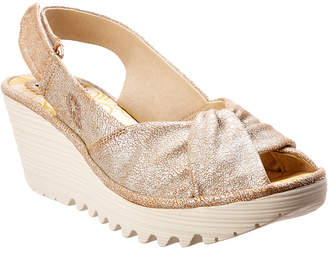 Fly London Yata Leather Wedge Sandal