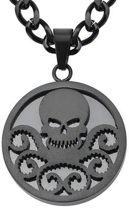 JCPenney FINE JEWELRY Marvel Hydra Logo Mens Black Ion-Plated Stainless Steel Pendant Necklace