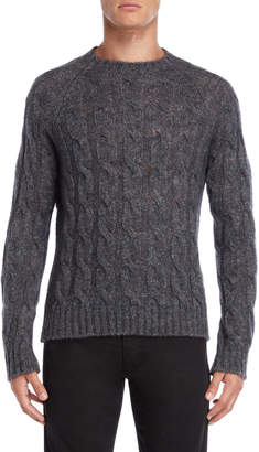 Armani Jeans Grey Regular Fit Cable Knit Pullover Sweater