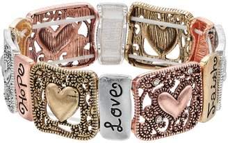 """Believe In """"Faith, Hope, Love"""" Heart Stretch Bracelet"""