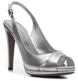 Sergio Rossi Metallic Leather Peep Toe Sandal