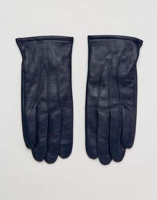 Asos Design Leather Gloves In Navy